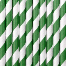 Papier-Strohhalme grün-weiss gestreift