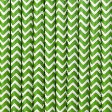 Papier-Strohhalme grün-weiss Zickzackmuster