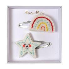Meri Meri Haarspangen mit Regenbogen und Stern-Motiv