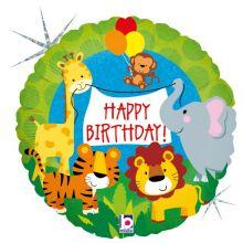 Ballon Dschungeltiere Happy Birthday