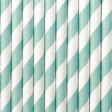 Papier-Strohhalme hellblau-weiß