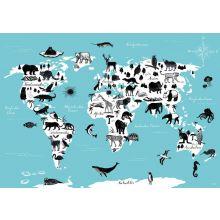 Poster Weltkarte mit Tieren von Katja Rub