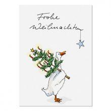 Postkarte Krima&Isa Frohe Weihnachten Gans mit Tanne