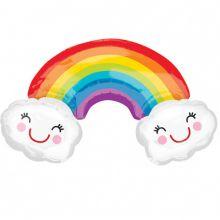 Folienballon Regenbogen und Wolken