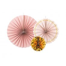 Rosetten Pinweels Mix Rosa Gold Partydeco
