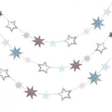 Ginger Ray Girlande Sterne Silber irisierend