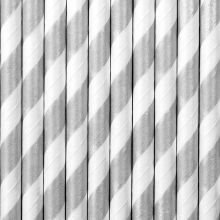 Papier-Strohhalme silber-weiss