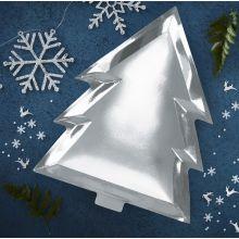 Ginger Ray Weihnachtsteller Tanne Silber auf blauem Hintergrund