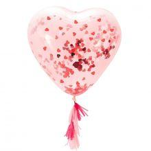 Herzballon mit Konfetti-Fülling groß, transparent