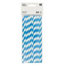 Papier-Strohhalme blau-weiß