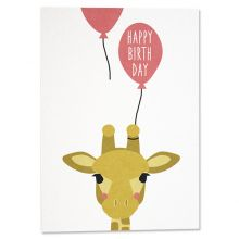 "Postkarte Giraffe mit Ballon ""Happy Birthday"""