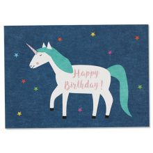"""Postkarte Einhorn - """"Happy Birthday"""""""