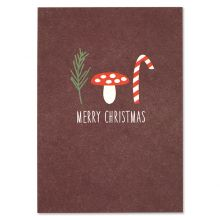 "Postkarte Pilz und Zuckerstange ""Merry Christmas"""