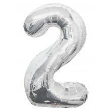 Folienballon Zahl 2, silber