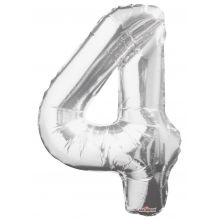 Folienballon Zahl 4, silber