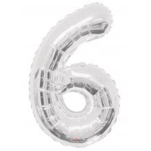 Folienballon Zahl 6, silber