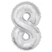 Folienballon Zahl 8, silber