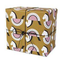 Geschenkpapier Schaukelpferdchen ocker/rosa