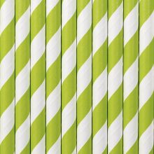 Papier-Strohhalme apfelgrün-weiss