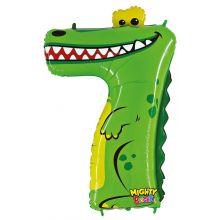 Folienballon Zahl 7 Krokodil