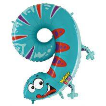 Folienballon Zahl 9 Gecko