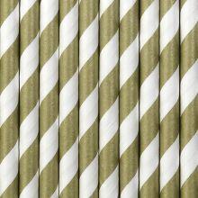Papier-Strohhalme gold-weiss