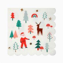 Serviette Santa und Rudolph