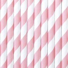 Papier-Strohhalme rosa-weiss