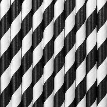 Papier-Strohhalme schwarz-weiss gestreift